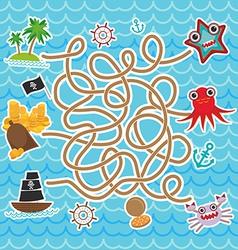 Sea animals boats pirates cute sea objects vector