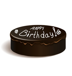 Frosting cake with happy birthday text vector