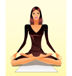 Woman exercising yoga meditation vector