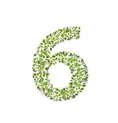 Spring green leaves eco number 6 vector
