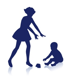 Silhouette of little boy and girl vector