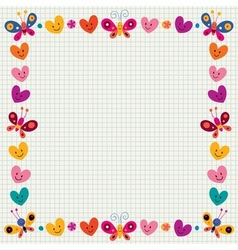 Butterflies hearts border frame vector