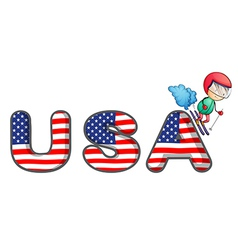 A boy skiing with the usa symbol vector