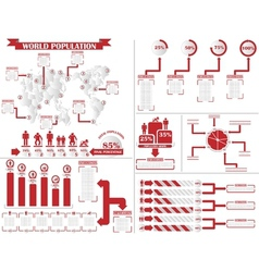 Infographic demographics 4 red vector