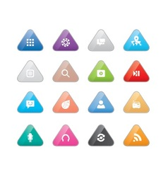 Triangular multi color web icons vector