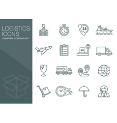 Transport icons thin line style flat vector