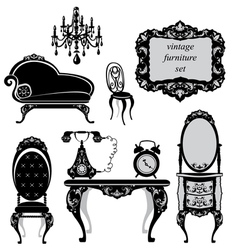 Set of antique furniture - isolated black silhouet vector