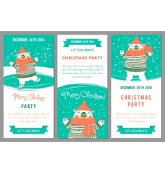 Christmas party invitations in cartoon style vector