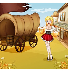 A sexy waitress beside the wagon vector
