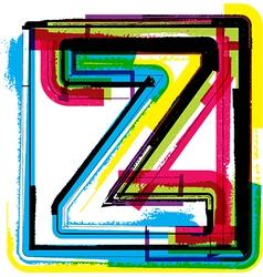 Colorful grunge font letter z vector