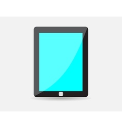 Realistic black tablet with blue blank screen vector