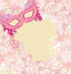 Carnival mask - abstract floral card vector
