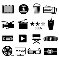 Movie and cinema icons set eps10 vector