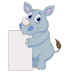 Cute rhino cartoon with blank sign vector