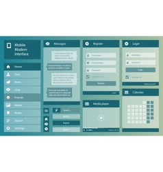 Flat design mobile interface vector