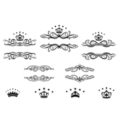Decorative frames with crowns vector