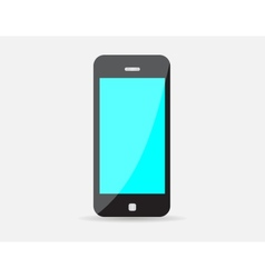 Realistic black mobile phone with blue screen vector