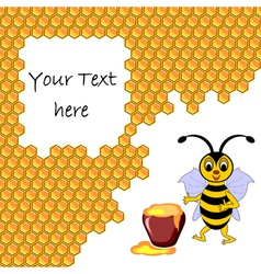 A cute cartoon bee with a honey pot vector