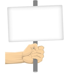 Hand holding blank board vector