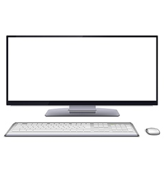 Modern desktop computer with blank screen vector