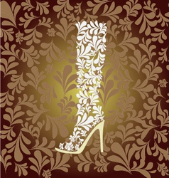 High heel boot fashion background- vector