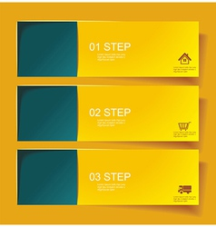 Set of bannerss step 1 2 3 with different shadow vector