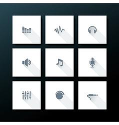 Flat audio icon set vector