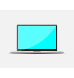 Realistic open laptop with blue blank screen vector