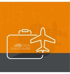 Icon airplane and suitcase vector