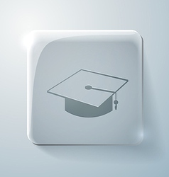 Graduate hat glass square icon with highlights vector