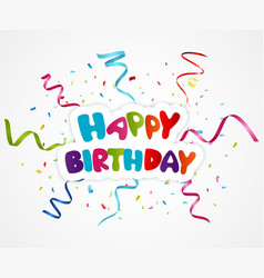 Happy birthday greeting card with ribbon vector
