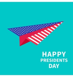 Big paper plane presidents day background flat vector