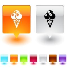 Icecream square button vector