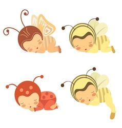 Sleeping babies set vector