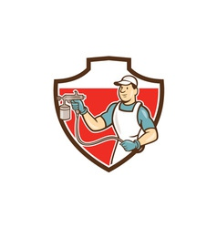 Painter spray gun spraying shield cartoon vector