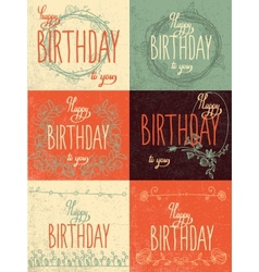 Set happy birthday hand lettering calligraphy vector