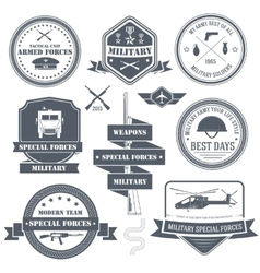 Military set label template of emblem element for vector