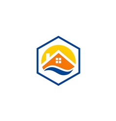 House roof icon abstract protection logo vector