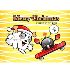 Christmas card fun dancing with the bomb vector