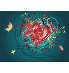 Hearts and roses4 vector