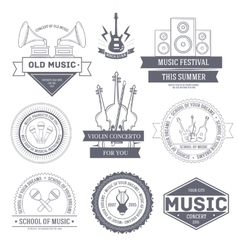 Music set label template of emblem element for vector