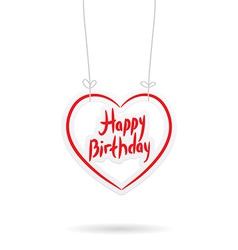 Happy birthday red paper heart on white background vector