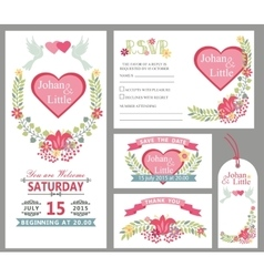 Cute wedding card design template setfloral decor vector