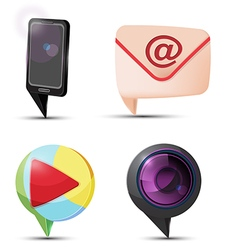 Mobile mail camera play icon vector