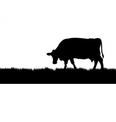 Cow meadow vector