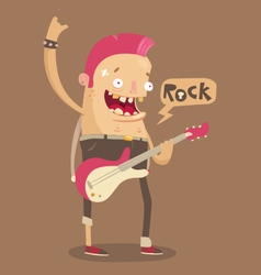 Punk rock guitar player vector