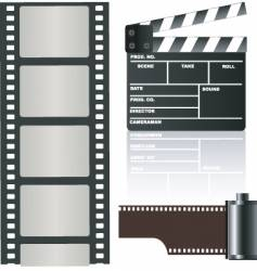 Film negative and clapboard vector