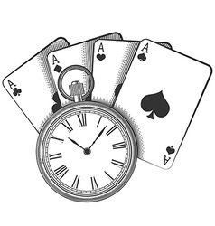 Old pocket watch and playing cards vector