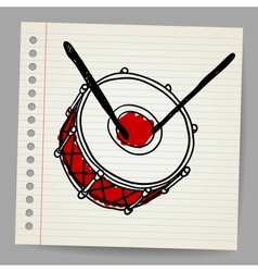Doodle hand-drawn bass drum instrument vector