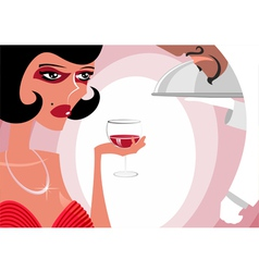 The woman at restaurant drinks wine vector